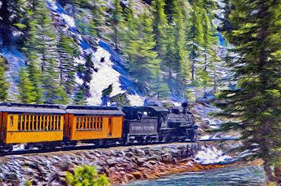 River Painting - Winter Train by Jeff Kolker