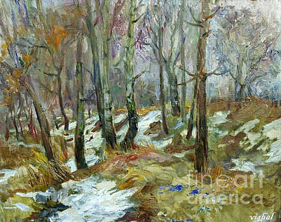 Landscape Painting - Winter Trees by Vishal Lakhani