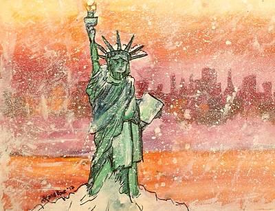 Winter With Lady Liberty Print by Shana Rowe Jackson