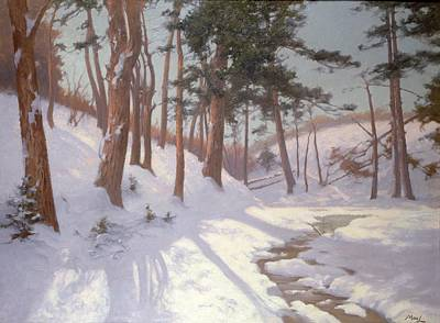 Winter Woodland With A Stream Print by James MacLaren