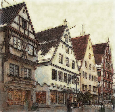 Winterly Old Town Print by Jutta Maria Pusl