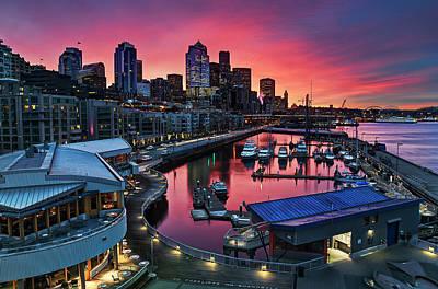 Built Structure Photograph - Winter's Morning Palette Seattle by Stephen Kacirek