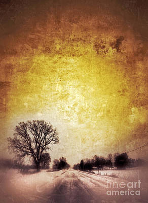 Wintery Road Sunrise Print by Jill Battaglia