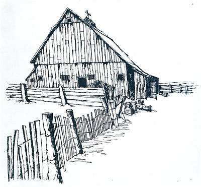 Old Barn Drawing - Wisconsin Barn With Fence by Robert Birkenes