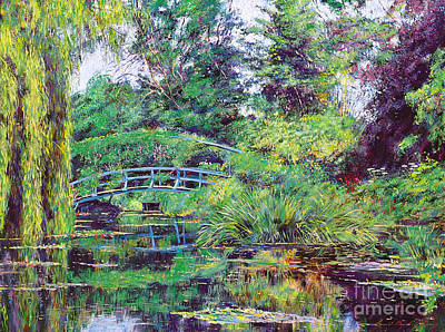 Willow Lake Painting - Wisteria Bridge Giverny by David Lloyd Glover