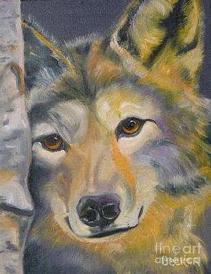Wolf Drawing - Wolf Friend by Susan A Becker