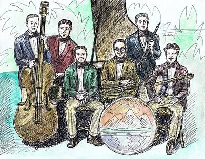 Saxophone Drawing - Wolverine Orchestra by Mel Thompson