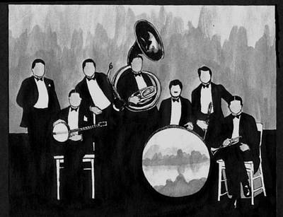 Trombone Drawing - Wolverines Black And White by Mel Thompson