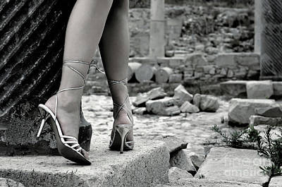 Feet Photograph - Woman Among Remains Of An Ancient Temple by Oleksiy Maksymenko