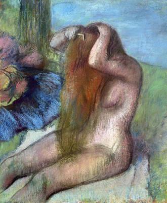 Femme Photograph - Woman Doing Her Hair by Edgar Degas