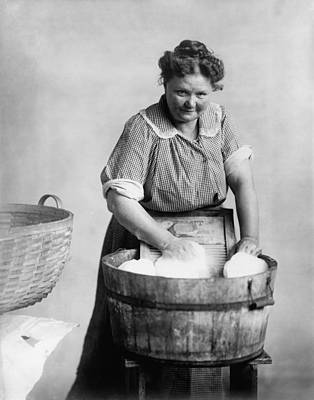 Woman Doing Laundry In Wooden Tub Print by Everett