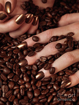 Fashion Photograph - Woman Hands In Coffee Beans by Oleksiy Maksymenko