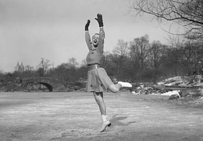 Woman Ice Skating Outdoors, (b&w) Print by George Marks