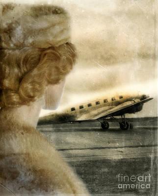 Woman In Fur By A Vintage Airplane Print by Jill Battaglia