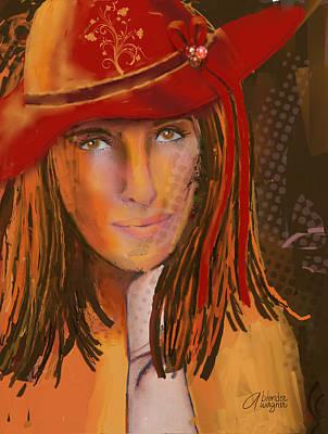 Women Digital Art - Woman In The Red Hat by Arline Wagner