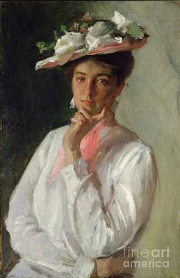 Contemplative Painting - Woman In White by William Merritt Chase
