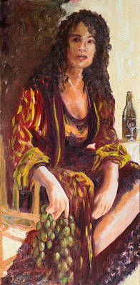 Italian Wine Painting - Woman In Winery by Ruthe Dawes