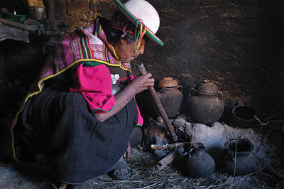 Hat Photograph - Woman Of Kallawaya Culture In Its Traditional Cuisine. Republic Of Bolivia. by Eric Bauer