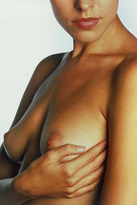 Self-examination Photograph - Woman Palpates Breast During Self-examination by Mauro Fermariello