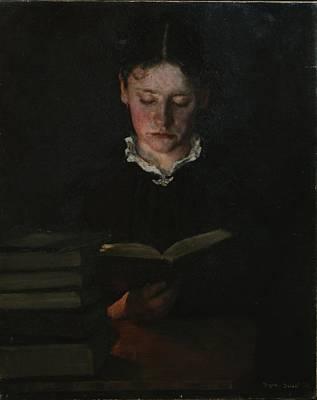 Woman Reading Print by Signe Scheel