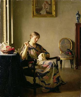 Interior Scene Photograph - Woman Sewing by William McGregor Paxton