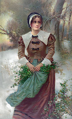Woman Standing In Snow, Holding Holly Print by Everett