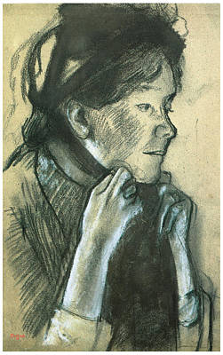 Woman Tying The Ribbons Of Her Hat Print by Edgar Degas