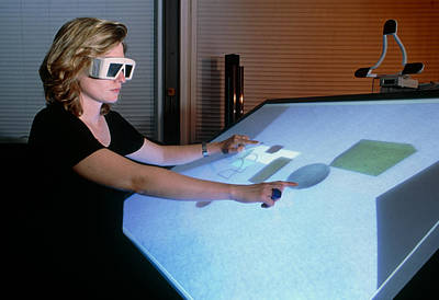 Woman Using A 3-d Computer-aided Design System Print by Volker Steger