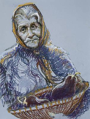 Babushka Drawing - Woman With A Basket Of Eggplant by Ellen Dreibelbis