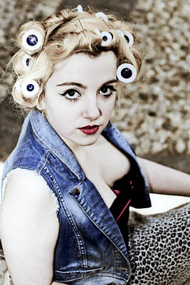 Vest Photograph - Woman With Curlers by Joana Kruse