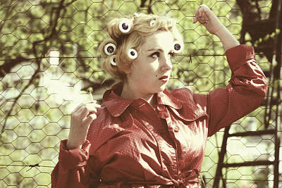 Wire-mesh Photograph - Woman With Rain Coat And Curlers by Joana Kruse