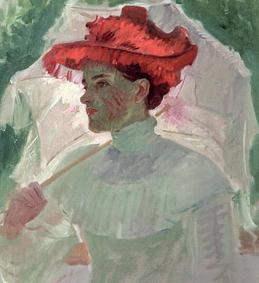 Woman With Red Hat And Parasol Print by Frank Duveneck