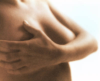 Self-examination Photograph - Woman's Hand Palpating Breast In Self-exa by Cristina Pedrazzini