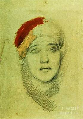 1884 Drawing - Womans Head by Pg Reproductions