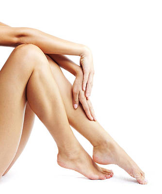 Woman's Legs Isolated On White Background Print by Anna Omelchenko