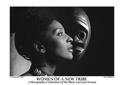 Women Of A New Tribe - Veronica With Mask Print by Jerry Taliaferro