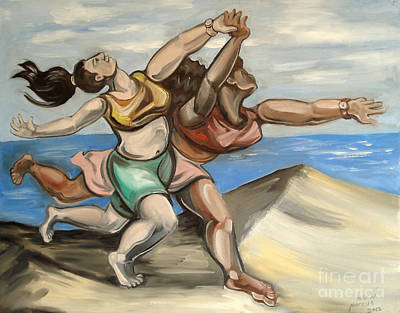 Women Running On Beach Print by Ellen Marcus