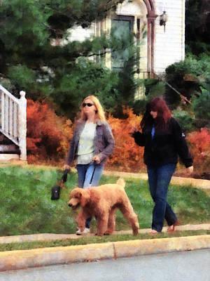 Women Walking A Dog Print by Susan Savad