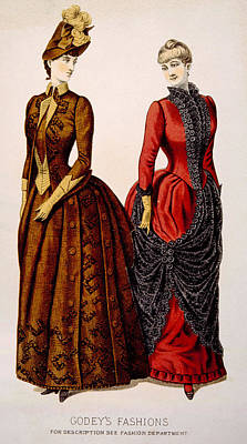 Womens Fashions From Godeys Ladys Book Print by Everett