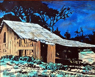 Wood Shed Print by Mike Holder