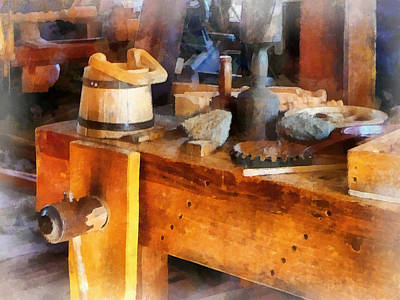 Wood Shop With Wooden Bucket Print by Susan Savad