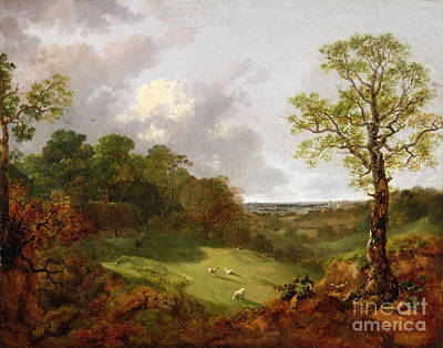 Field. Cloud Painting - Wooded Landscape With A Cottage - Sheep And A Reclining Shepherd by Thomas Gainsborough