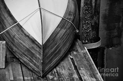 Wooden Boat On The Dock Print by Wilma  Birdwell