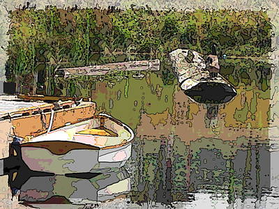 Wooden Boat Placid Print by Tim Allen