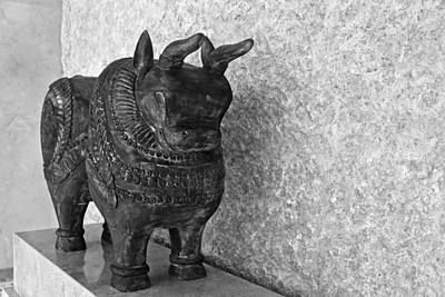 Freestanding Rock Photograph - Wooden Hand Carved Ornamental Bull by Kantilal Patel