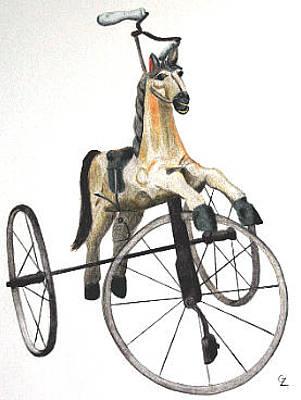 Tricycle Drawing - Wooden Horse Trike by Glenda Zuckerman