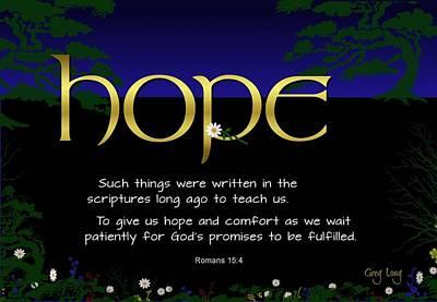 Word Of Hope Print by Greg Long