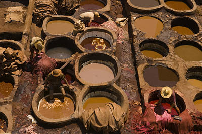 Workers In The Tanneries Of Fez Soak Print by Annie Griffiths