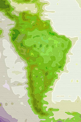 World Map - South America - Abstract Print by Steve Ohlsen