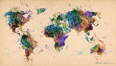 Geography Digital Art - World Map 2 by Mark Ashkenazi